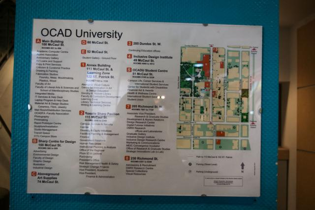 OCAD campus map taken on October 22, 2012