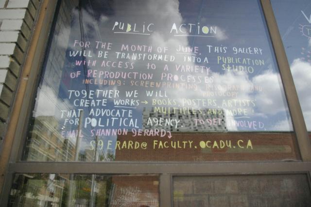 Public Action notice outside the Student Gallery